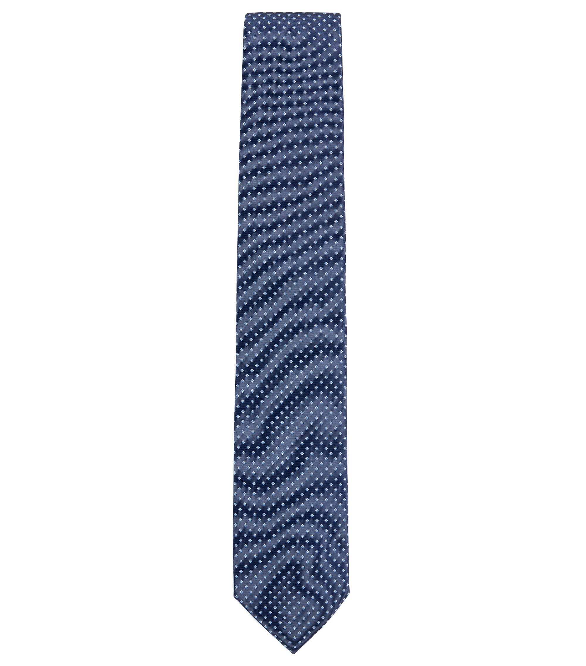 Diamond-pattern tie in fine silk jacquard, Dark Blue