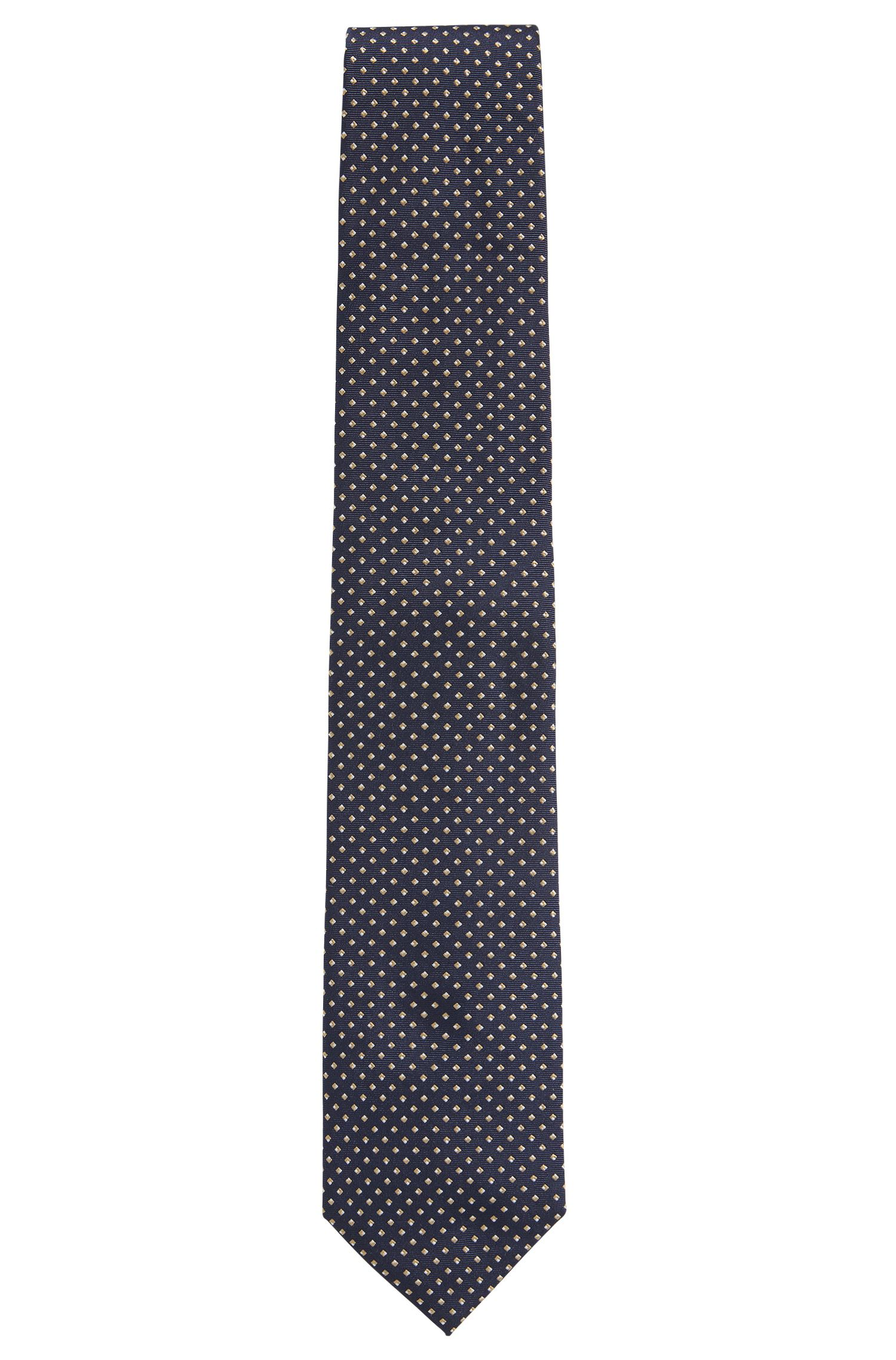 Diamond-pattern tie in fine silk jacquard