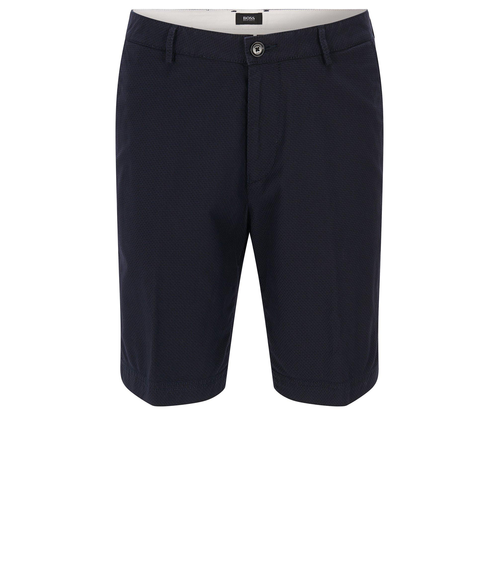 Regular-Fit Shorts aus strukturierter Stretch-Baumwolle, Dunkelblau