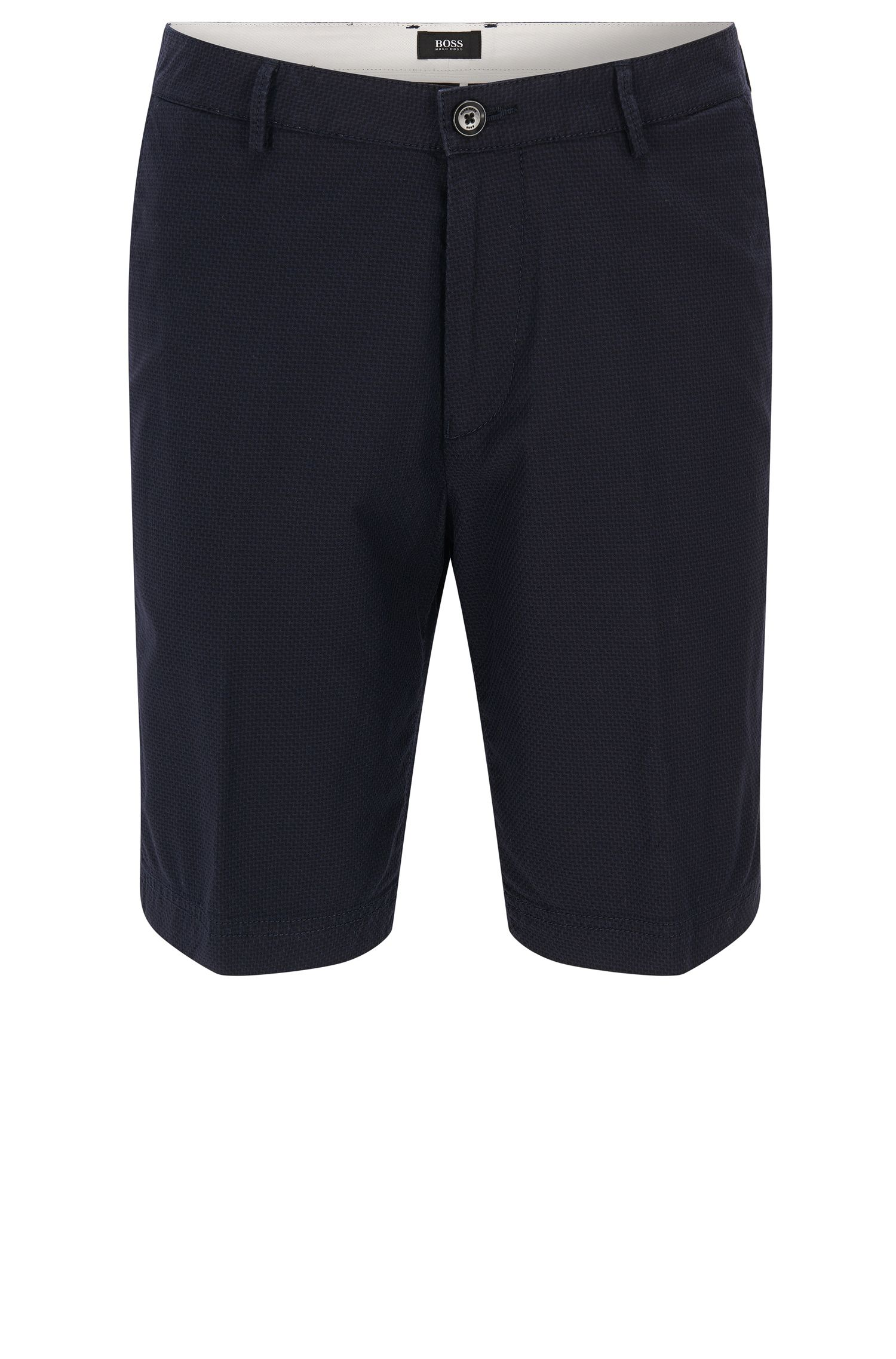 Regular-fit stretch-cotton shorts in micro pattern