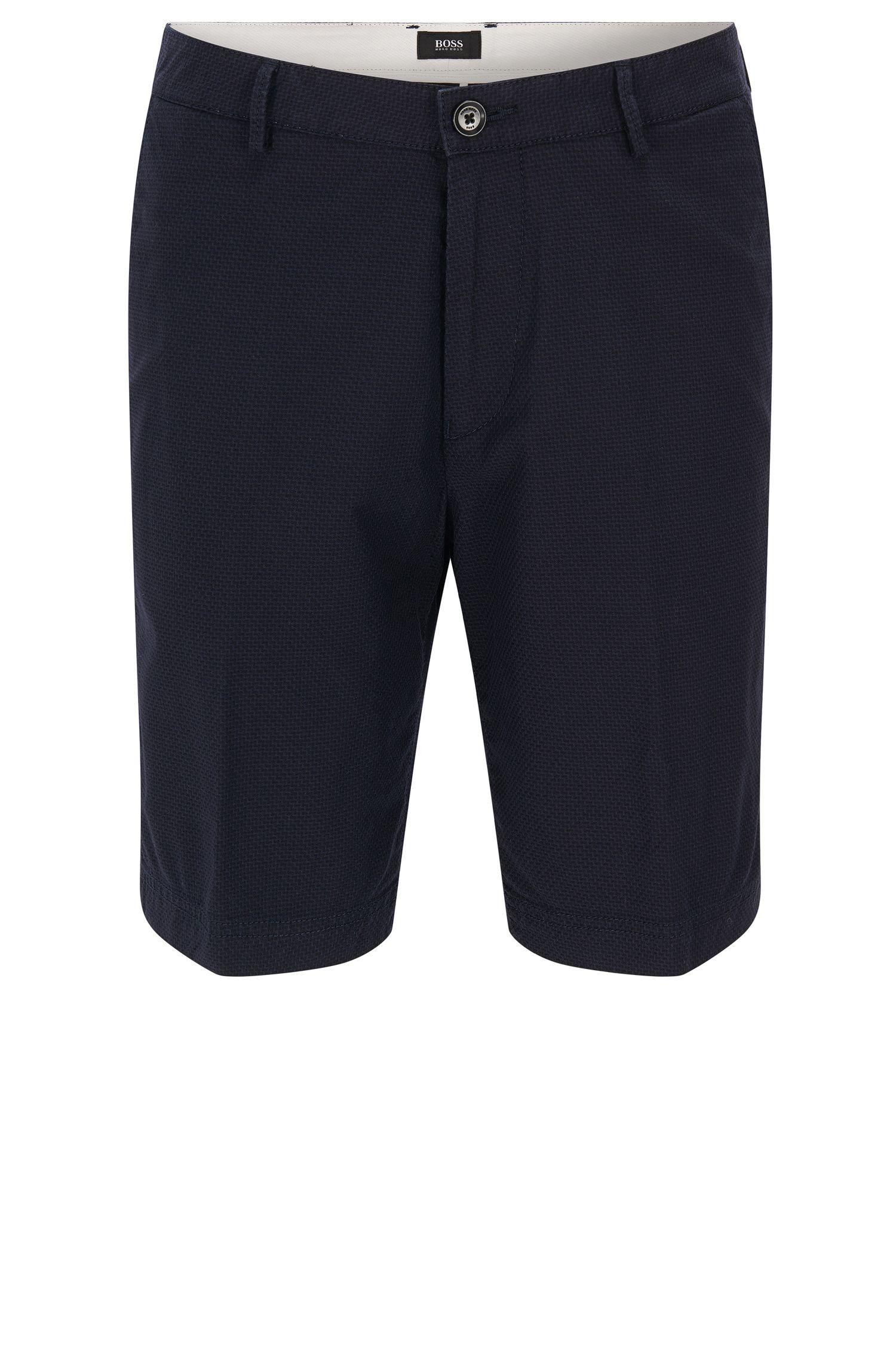 Short Regular Fit en coton stretch à micro-motif