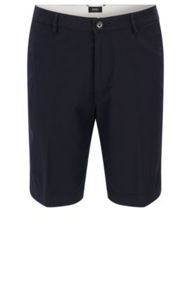 Regular-fit stretch-cotton shorts in micro pattern, Dark Blue