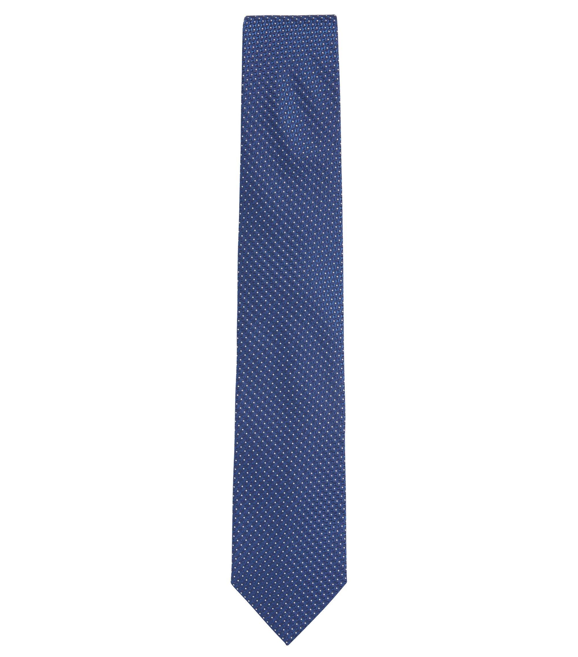 In Italië vervaardigde stropdas van zijden jacquard met dessin, Donkerblauw