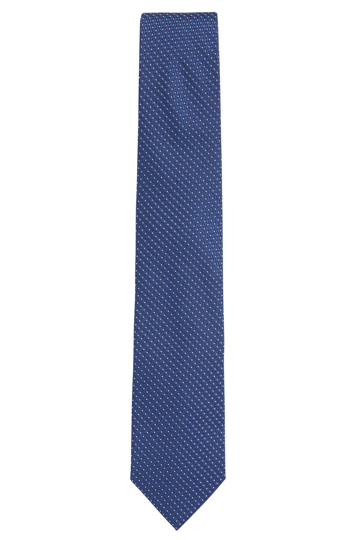 Corbata de jacquard en seda con estampado fabricada en Italia