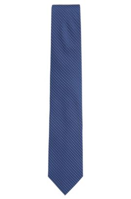 Patterned silk jacquard tie made in Italy, Dark Blue