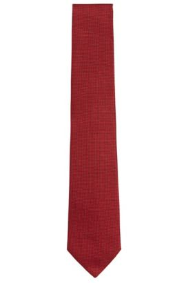 Patterned silk jacquard tie made in Italy, Red