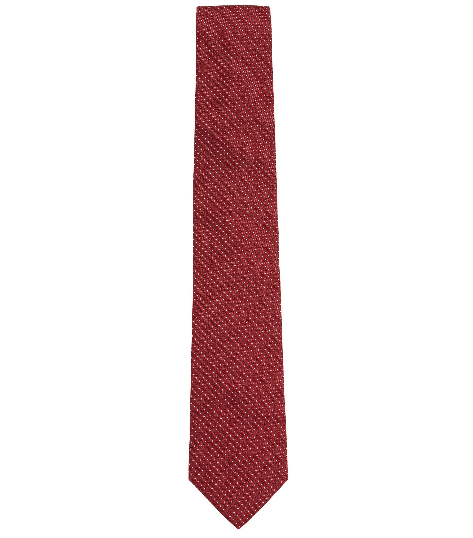 Cravate en jacquard de soie avec motif confectionnée en Italie, Rouge