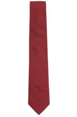 In Italië vervaardigde stropdas van zijden jacquard met dessin, Rood