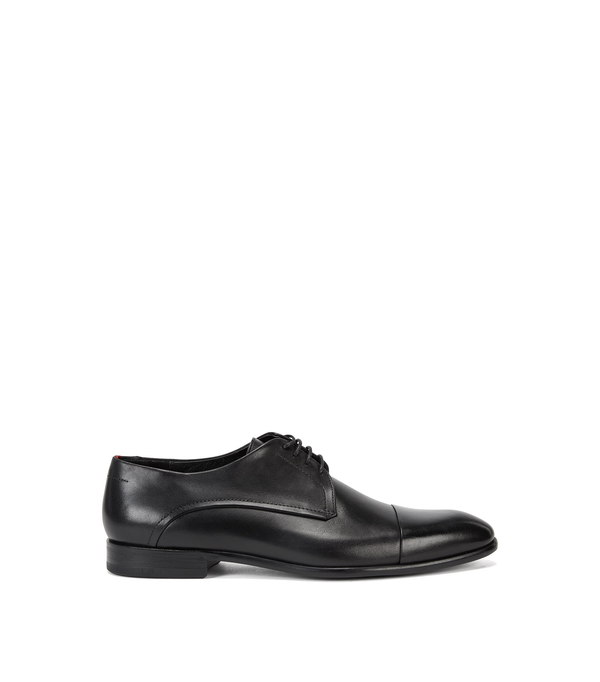 Derby shoes in rich burnished leather , Black