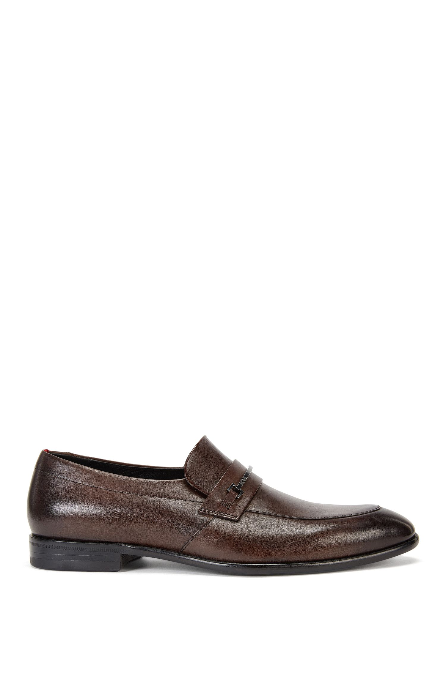 Leather loafers with branded metal bit