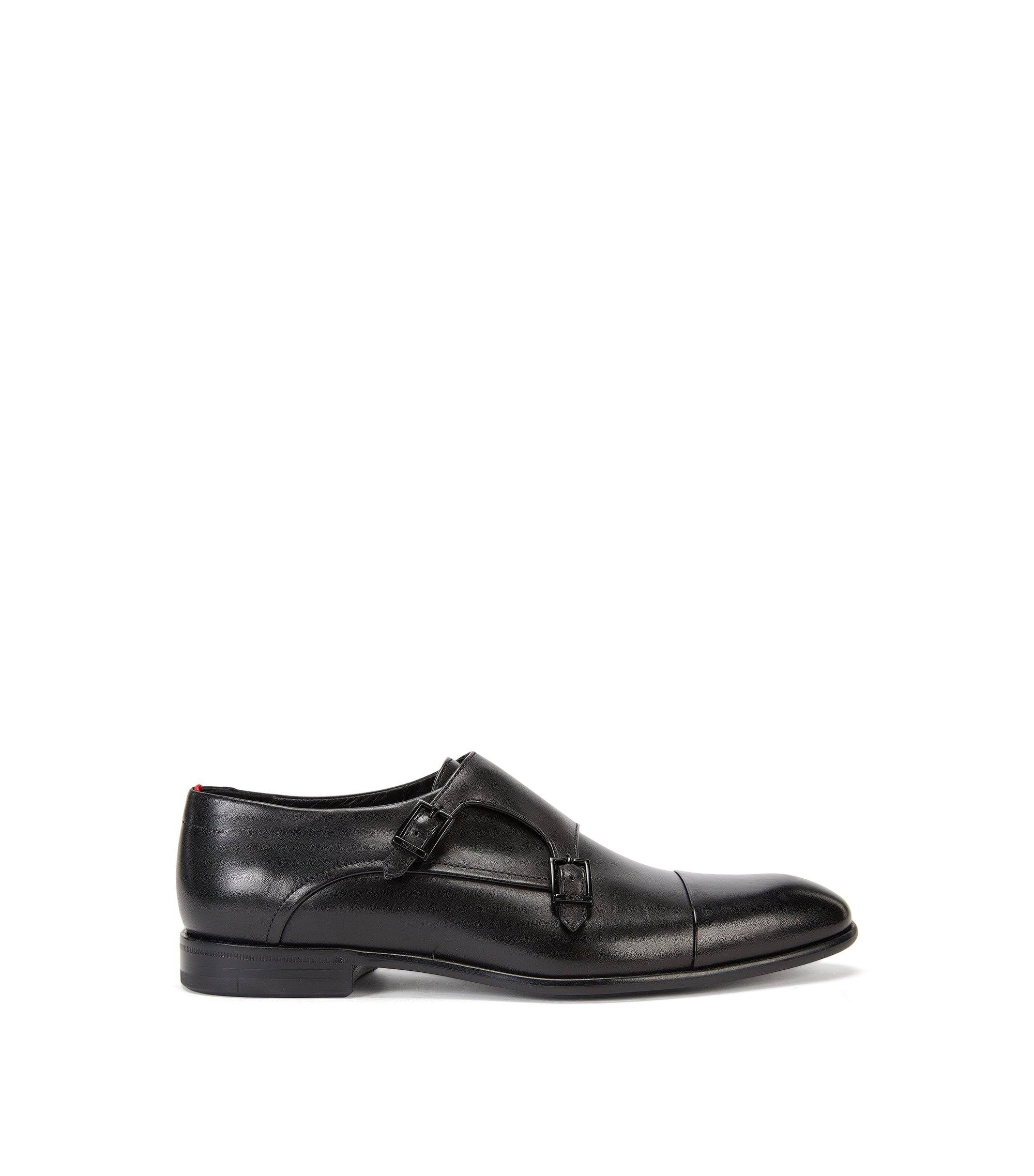 Schoenen van gepolijst leer met dubbele gesp, Zwart