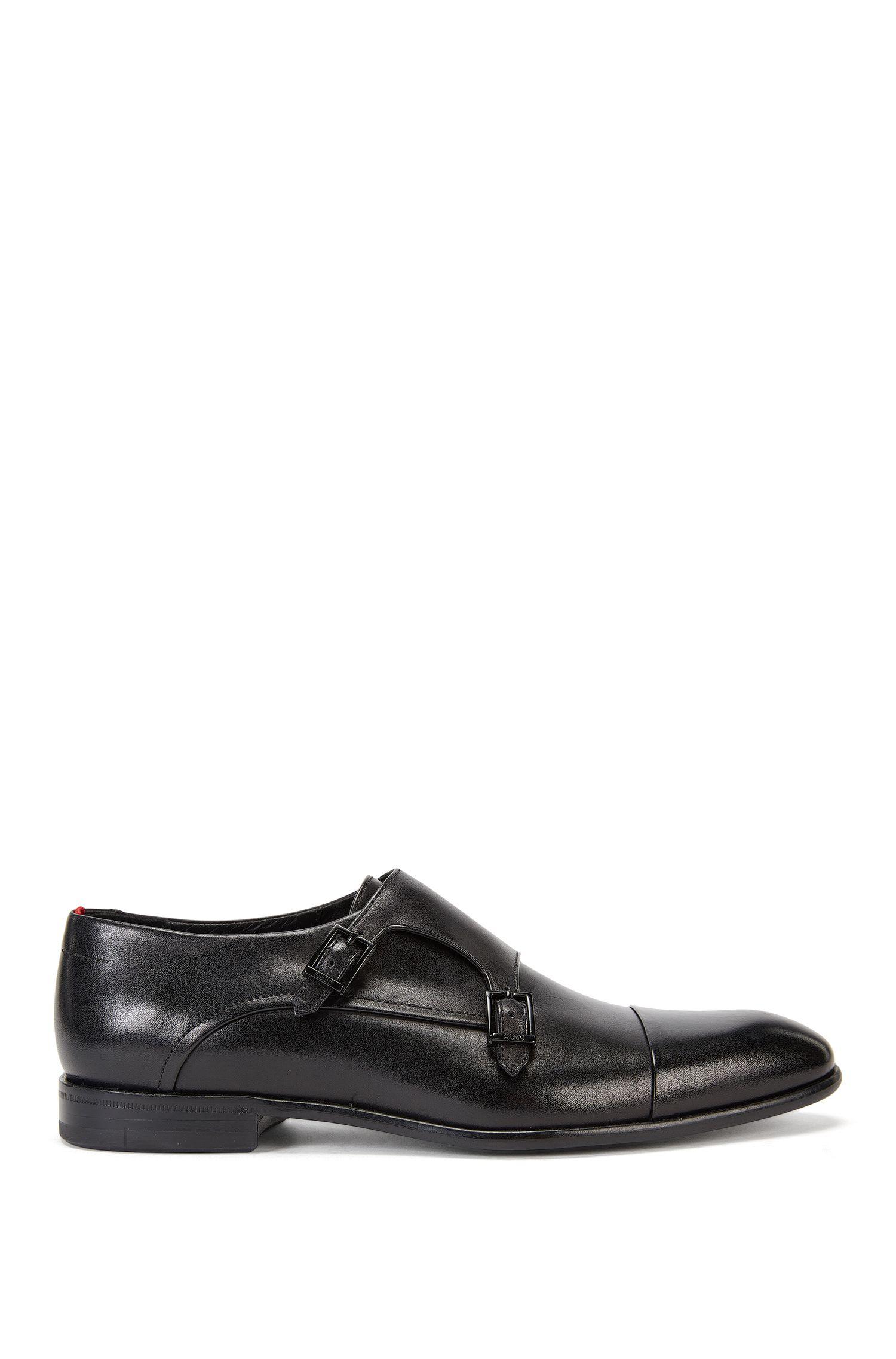 Chaussures à double boucle en cuir vieilli