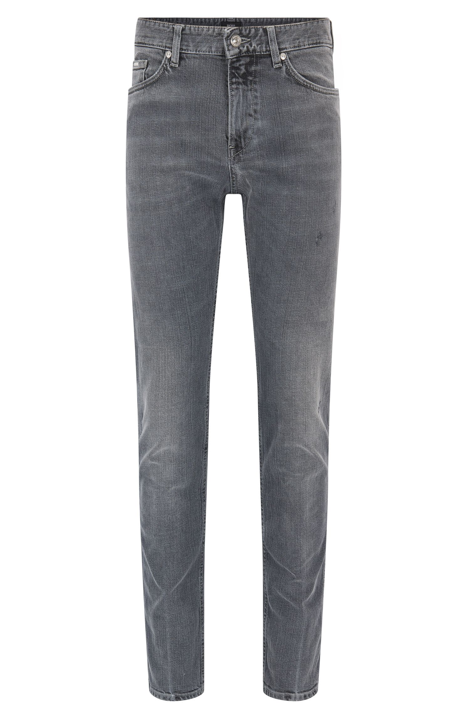 Slim-fit jeans in grey vintage-effect stretch denim