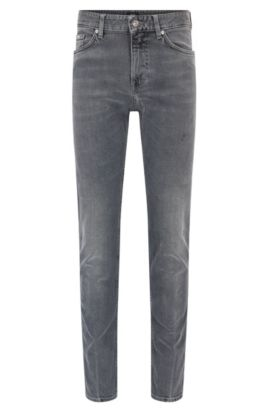 Slim-Fit Jeans aus Stretch-Denim mit Vintage-Effekt, Hellgrau