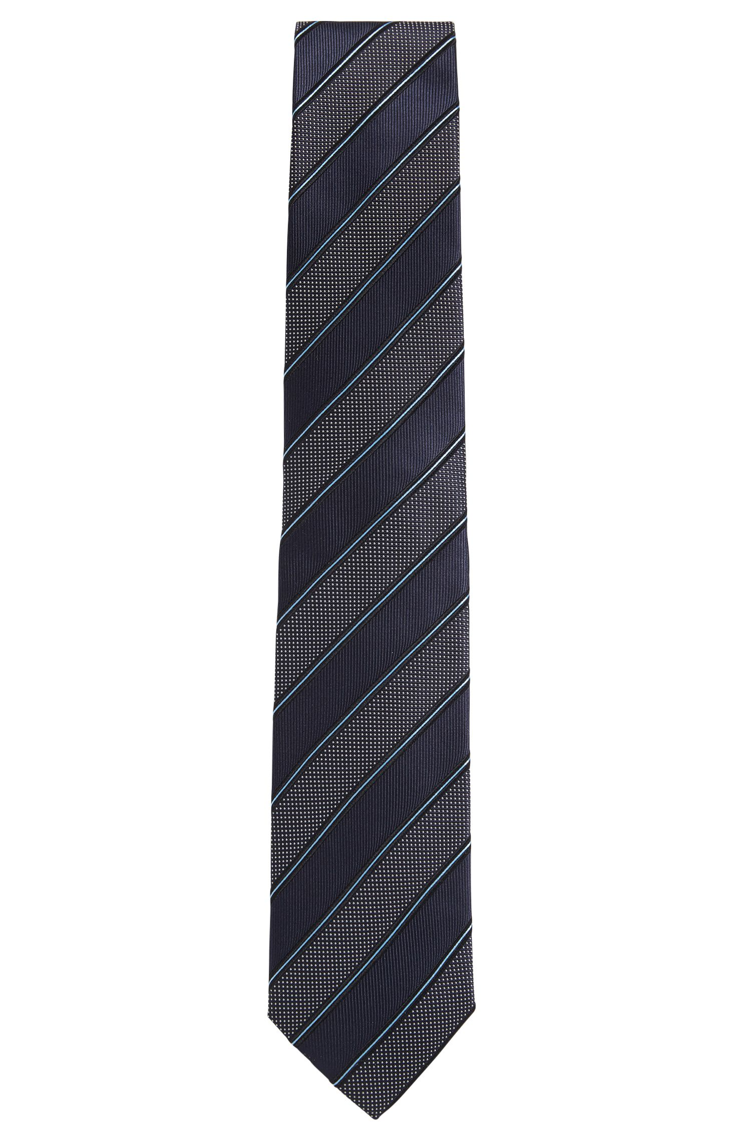 Jacquard striped tie in fine silk