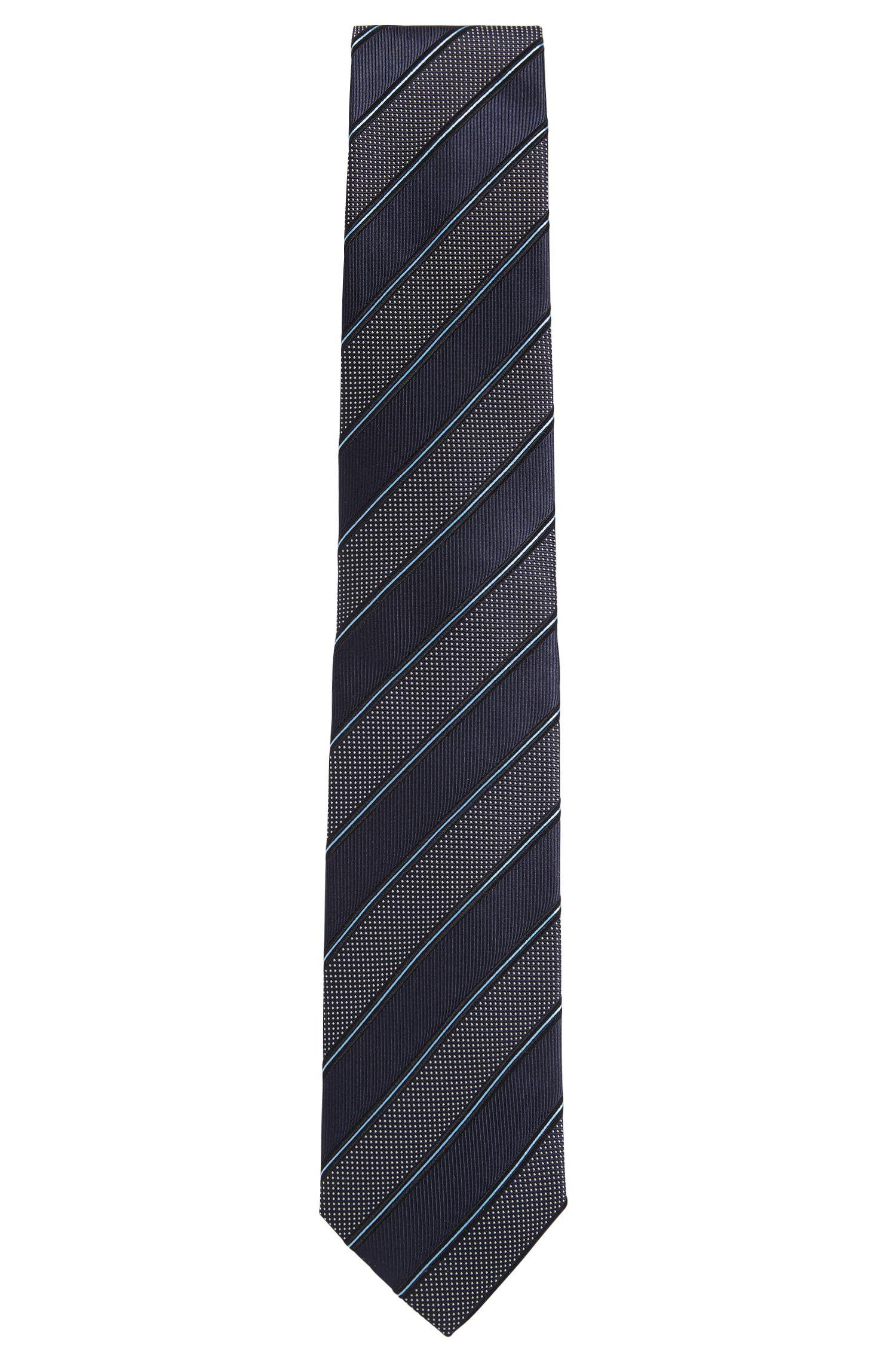 Jacquard striped tie in fine silk