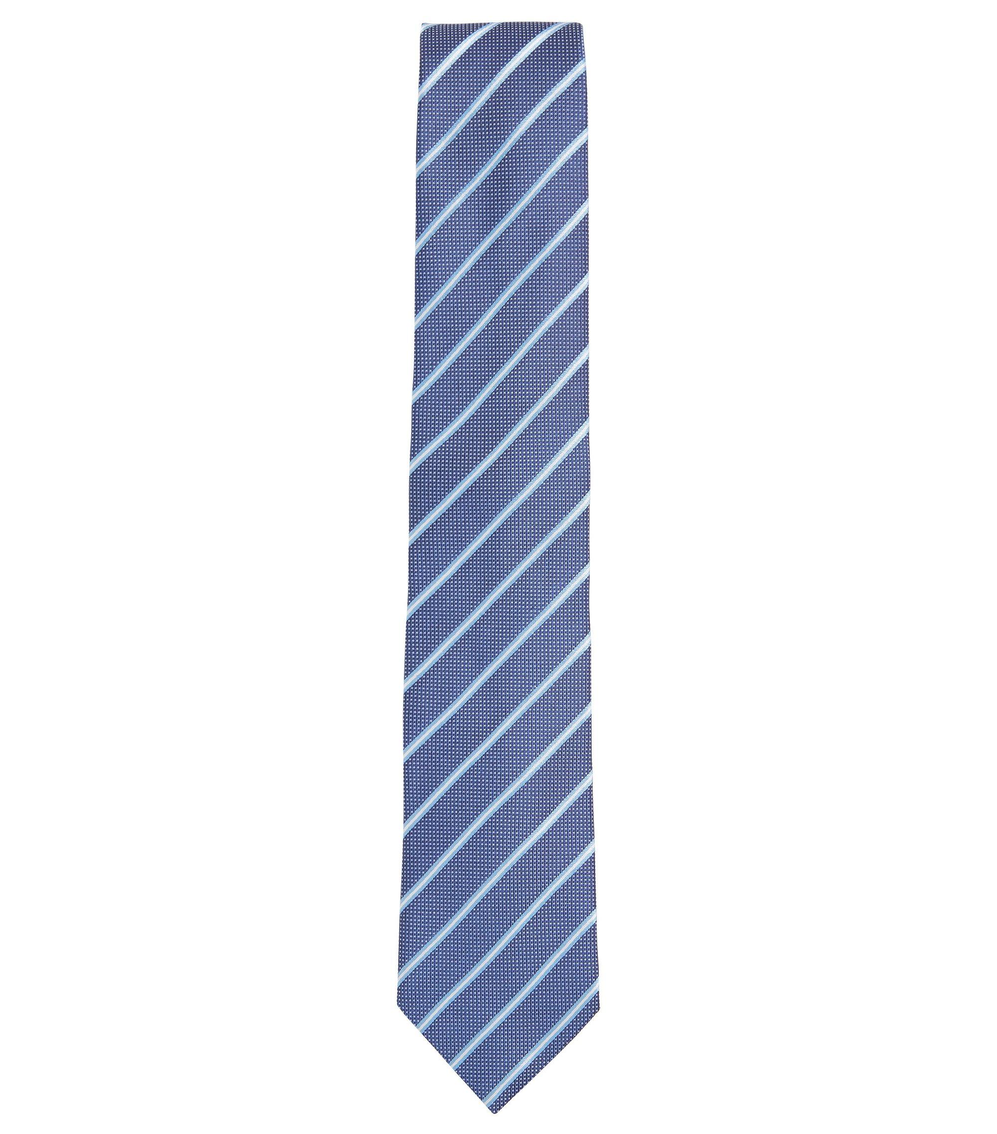 Cravate jacquard en soie fine à rayure, Bleu