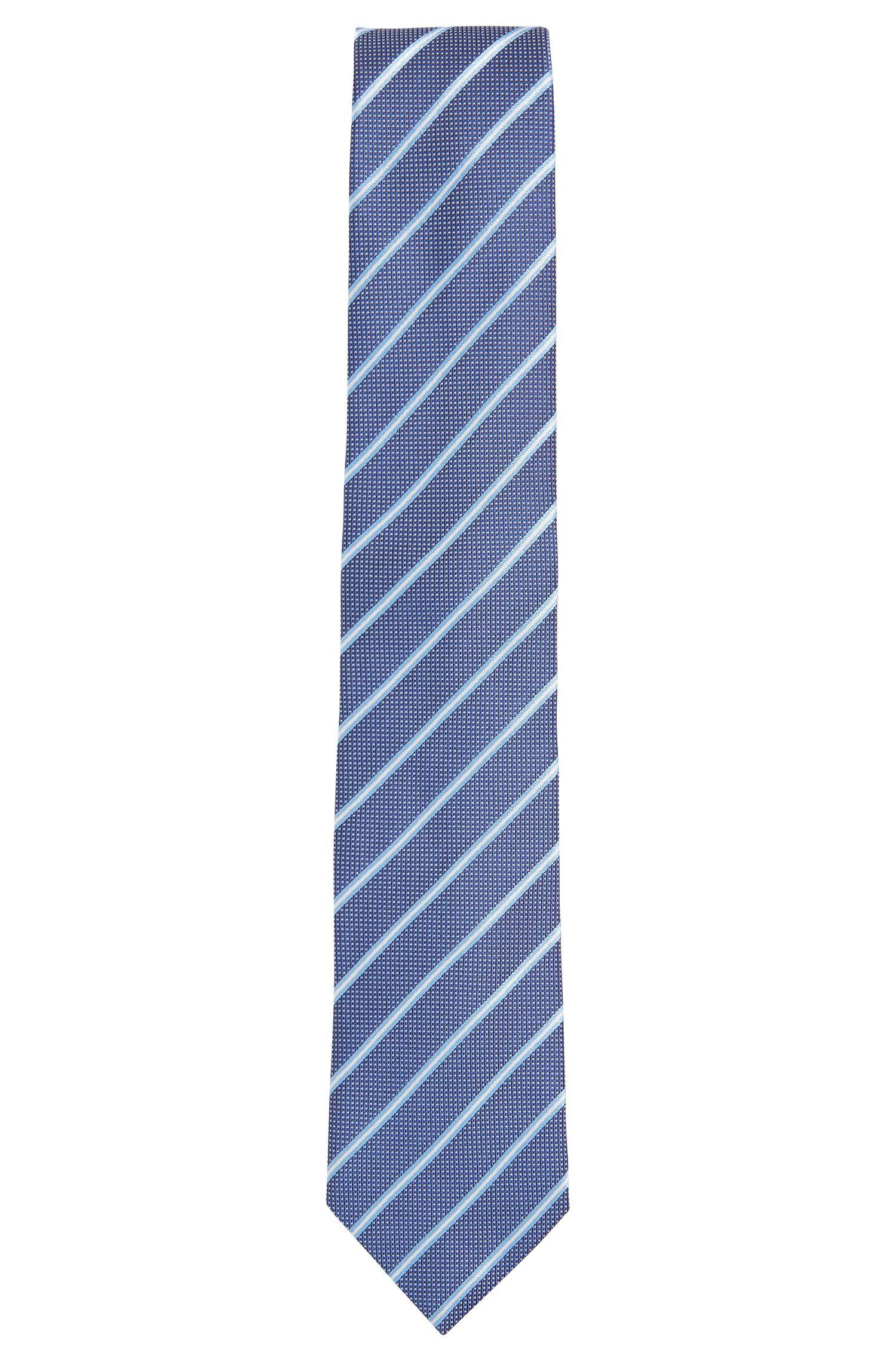Gestreepte stropdas van fijne zijde in jacquardweefsel