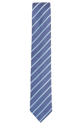 Jacquard striped tie in fine silk, Blue
