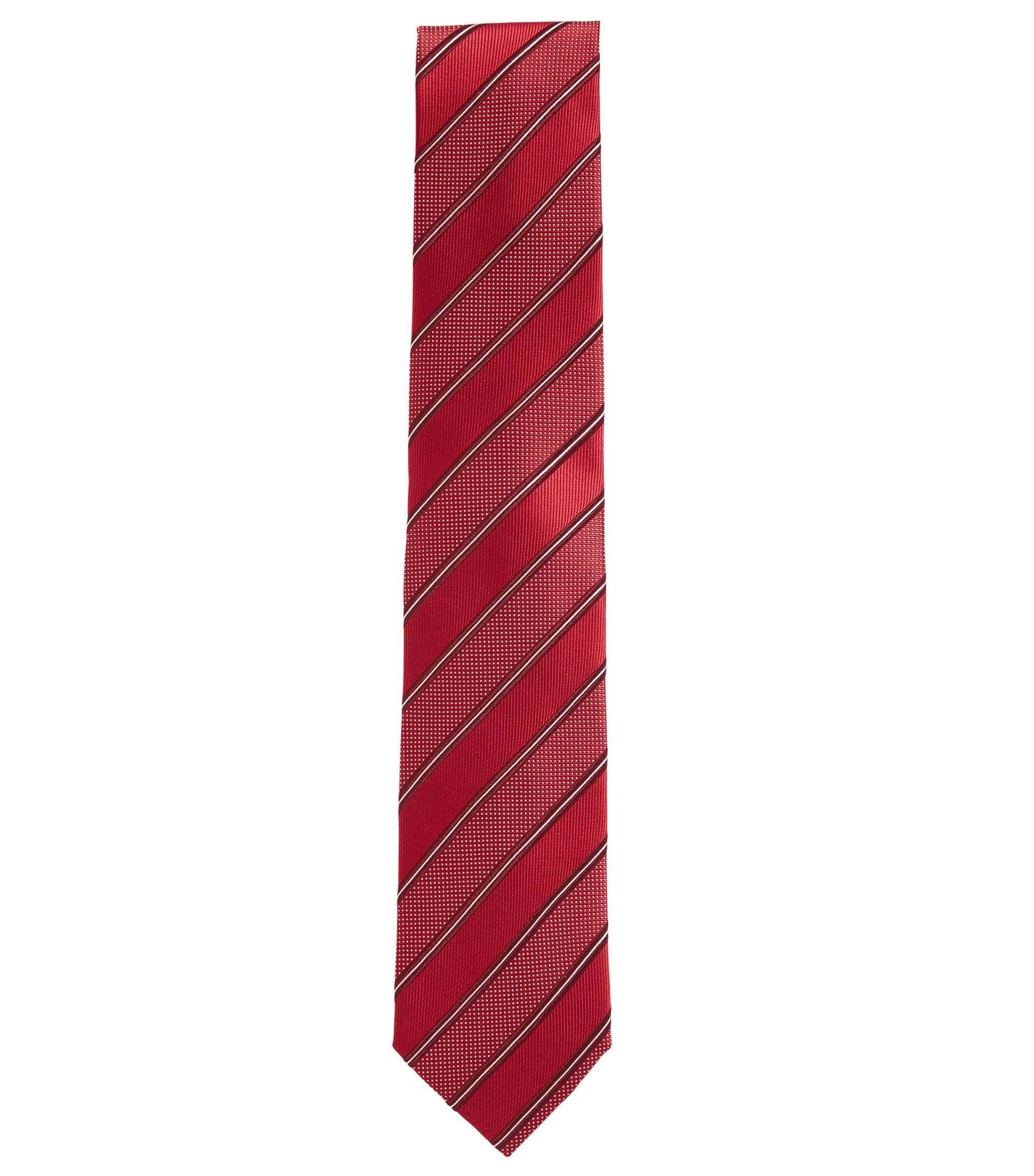 Cravate jacquard en soie fine à rayure, Rouge