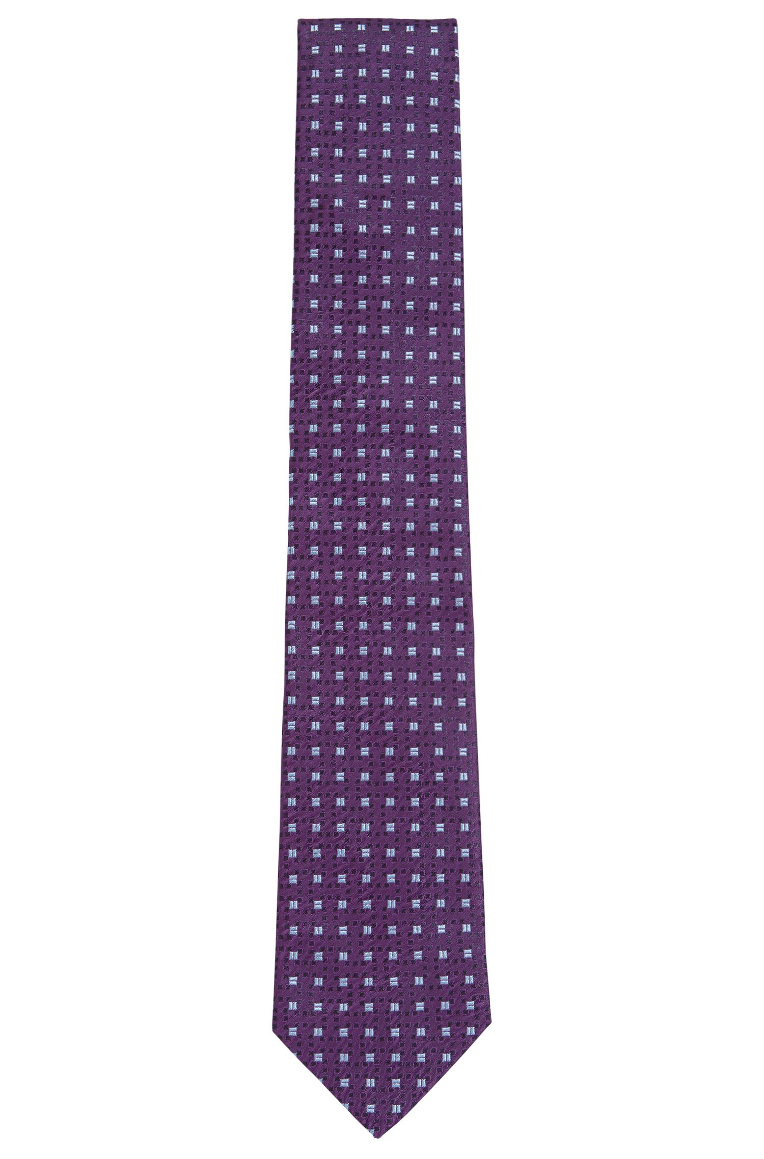 Cravate jacquard en soie fine à micro-motif