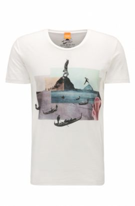 Regular-fit T-shirt van katoen met digitale print, Naturel
