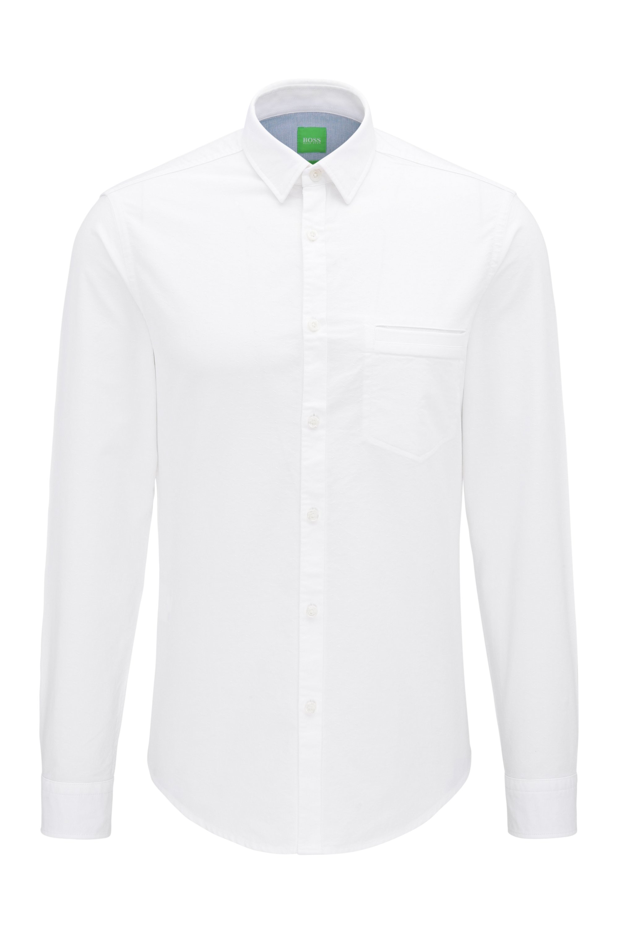 Regular-fit garment-washed shirt in cotton, White
