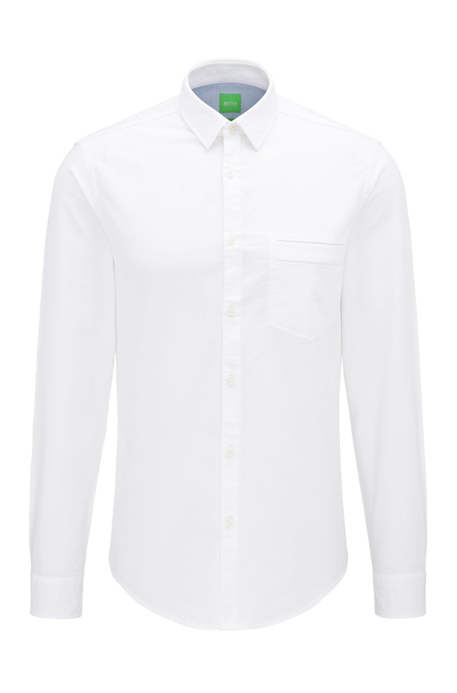 Regular-fit garment-washed shirt in cotton