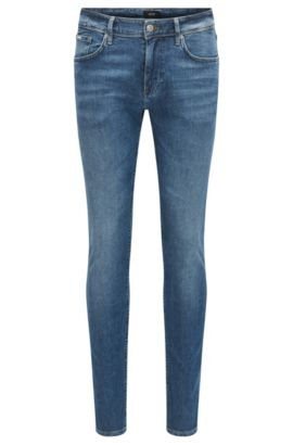 Slim-fit jeans in lightweight mid-washed denim, Blue