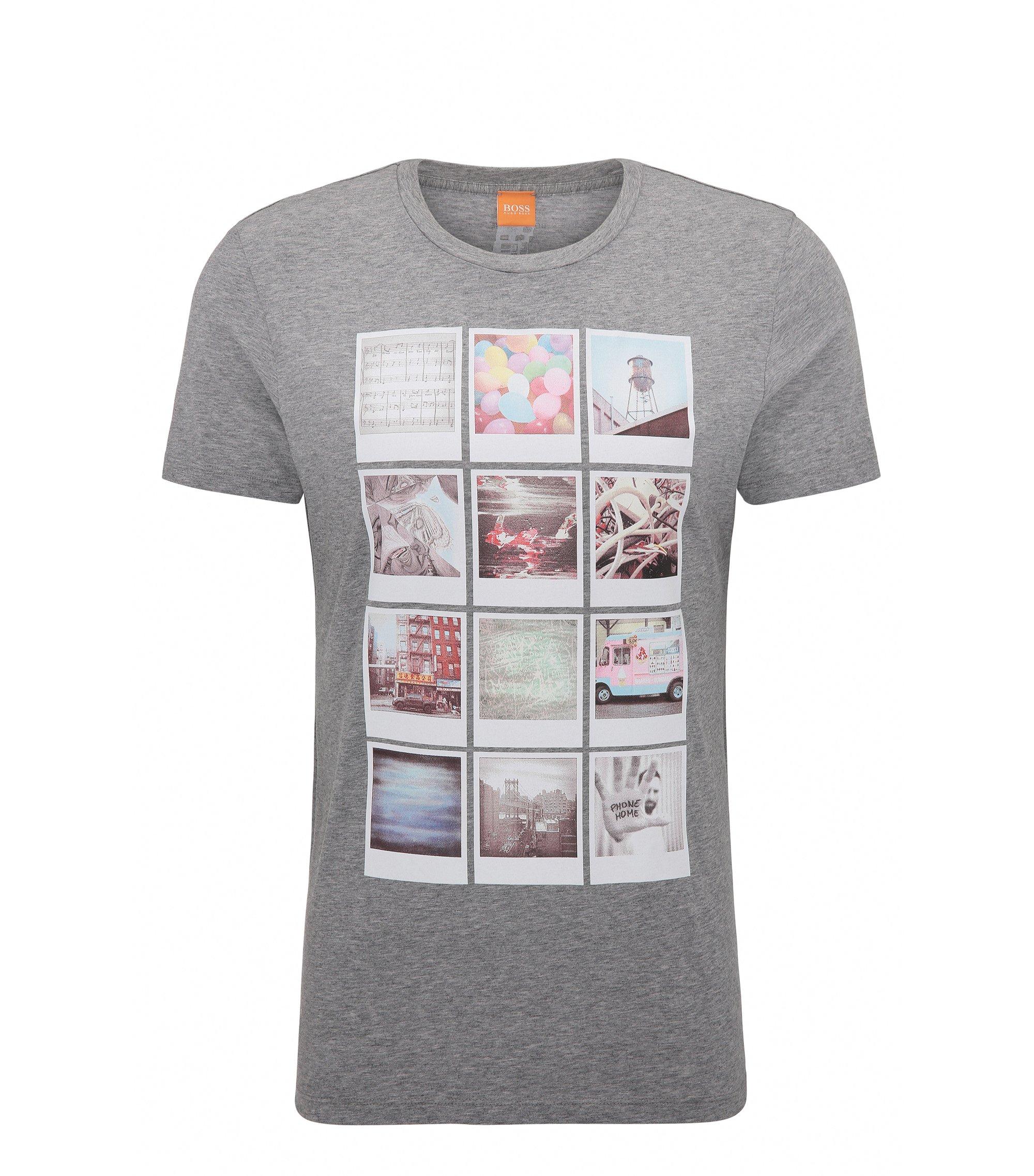 Regular-Fit T-Shirt aus Baumwolle mit Polaroid-Print, Hellgrau