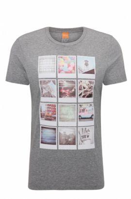 Regular-fit T-shirt van katoen met polaroidprint, Lichtgrijs