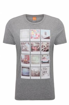 Camiseta regular fit de algodón con estampado Polaroid, Gris claro
