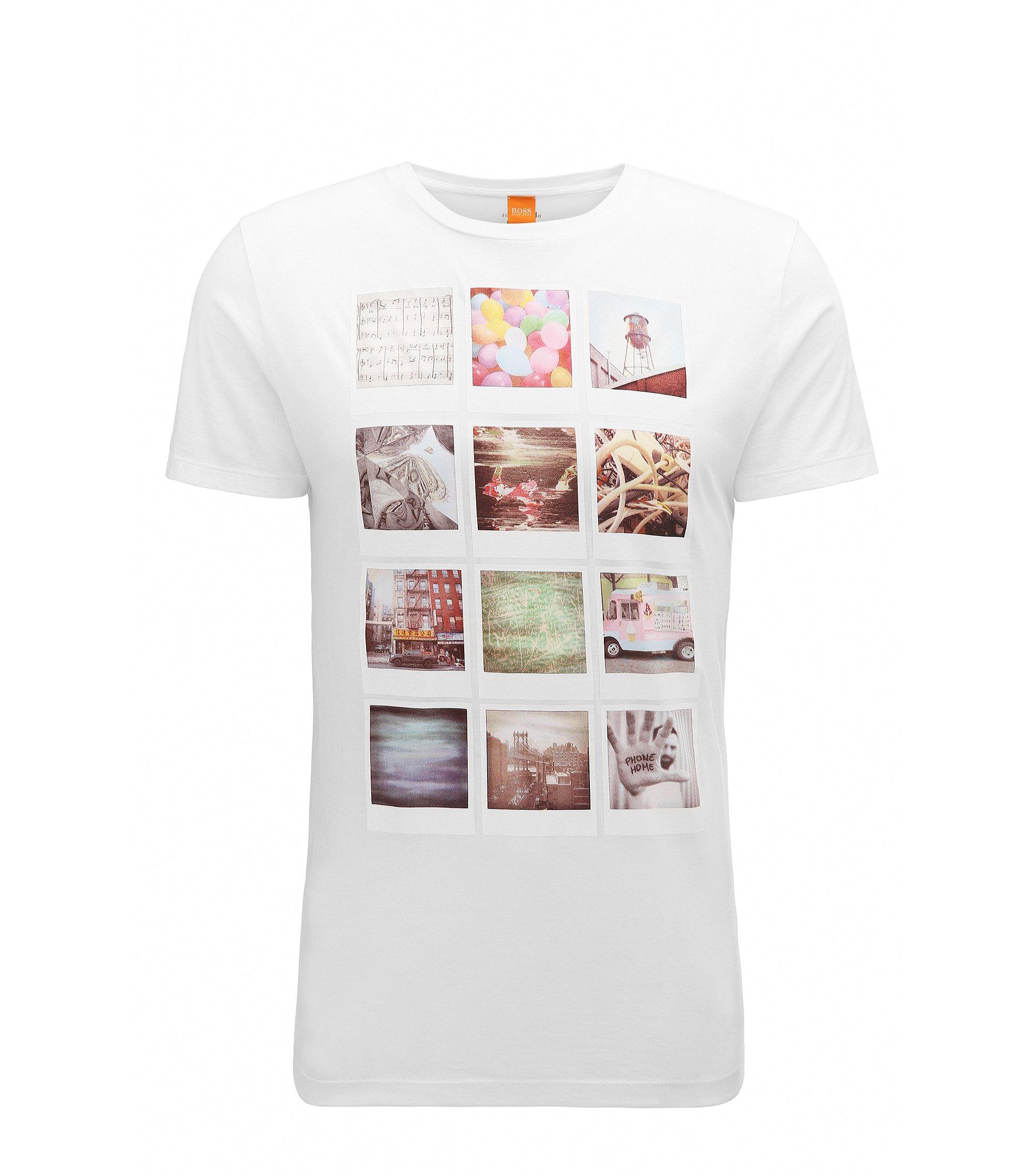 T-shirt Regular Fit en coton à imprimé de style polaroïd, Blanc