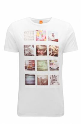T-shirt regular fit in cotone con stampa polaroid, Bianco