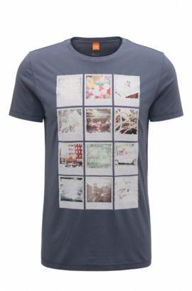 Regular-fit T-shirt van katoen met polaroidprint, Donkerblauw