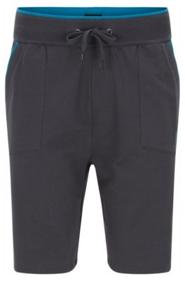 Jersey shorts with applied pockets and contrast piping, Dark Grey