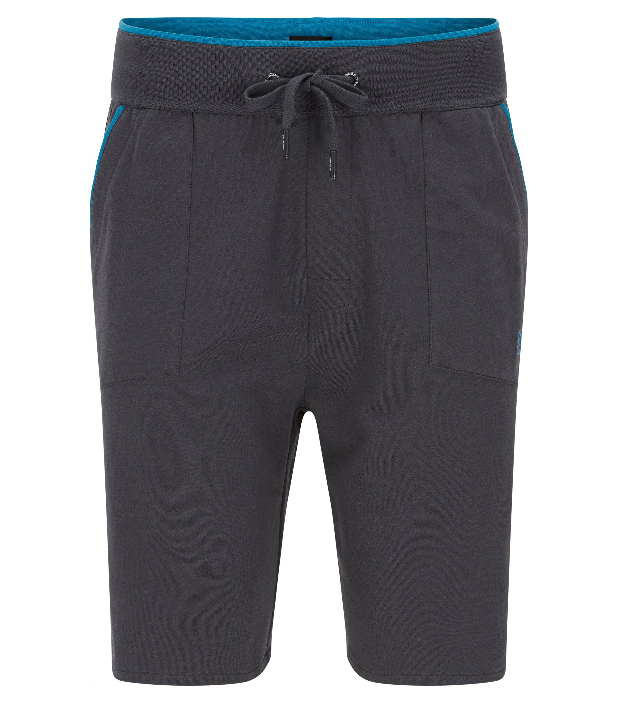 Shorts de punto con bolsillos aplicados y ribetes en contraste, Gris oscuro