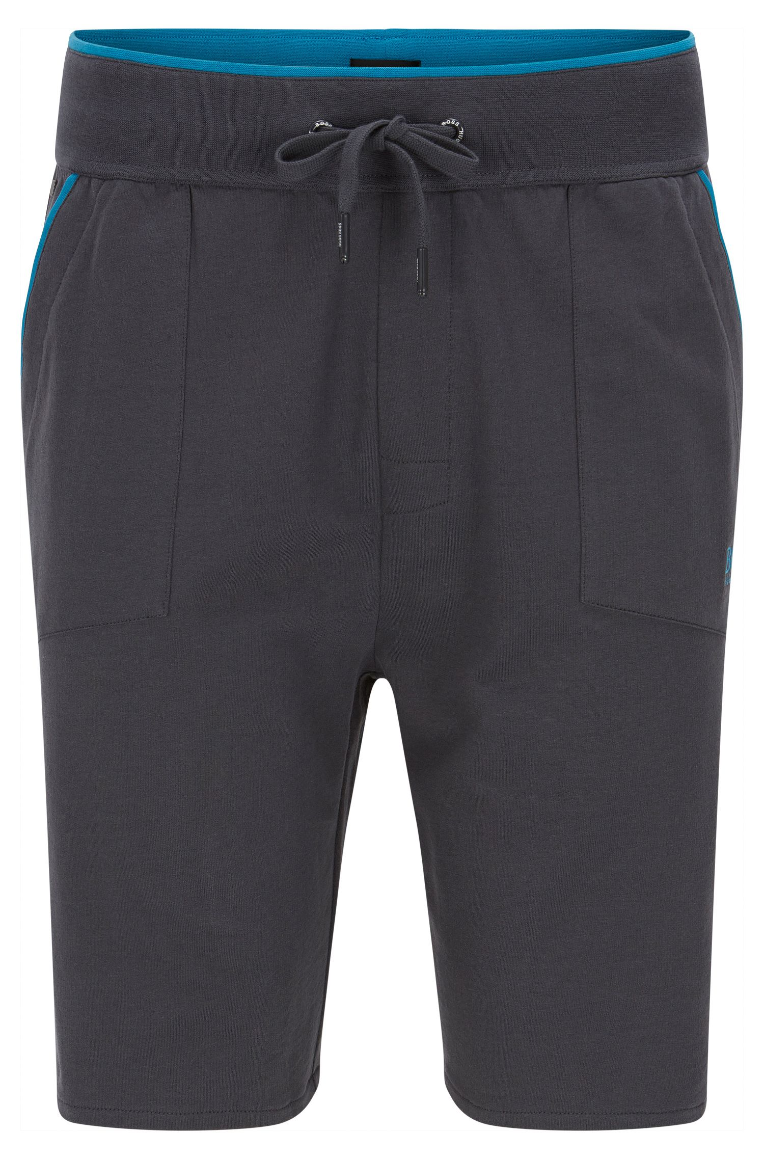 Jersey shorts with applied pockets and contrast piping