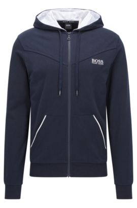 Jersey jacket with kangaroo pocket and contrast piping, Dark Blue