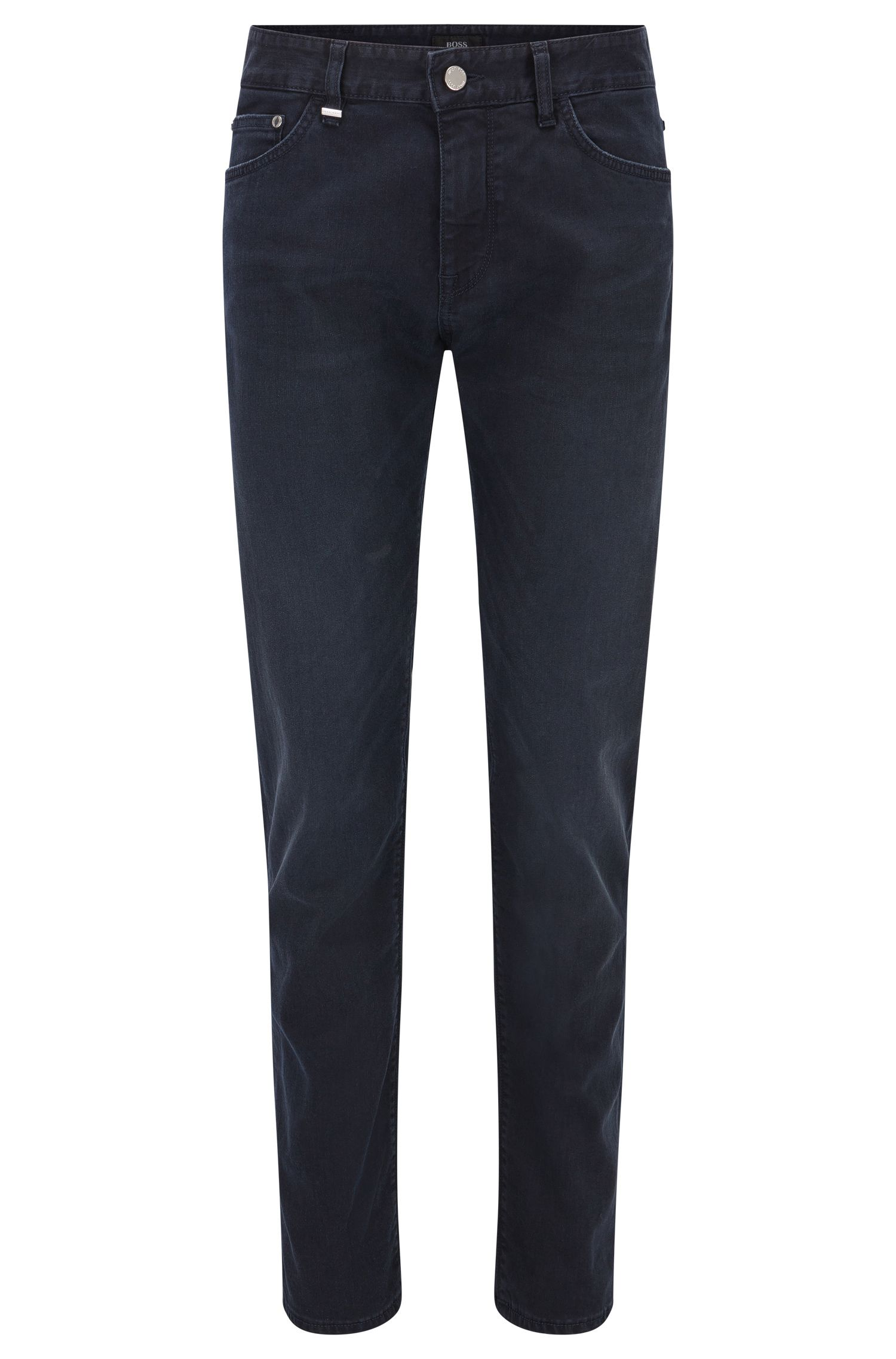 Regular-fit dark blue mid-washed jeans in stretch denim