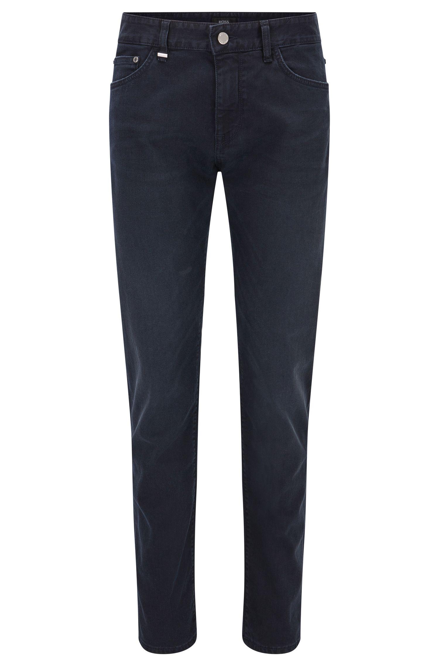 Jeans Regular Fit en denim stretch bleu foncé au délavage moyen