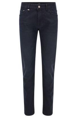 Donkerblauwe regular-fit jeans van stretchdenim met normale wassing, Donkerblauw