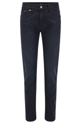 Regular-fit dark blue mid-washed jeans in stretch denim, Dark Blue