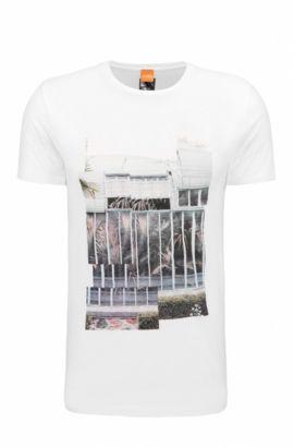 T-shirt Regular Fit en coton à imprimé numérique, Blanc