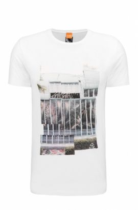 Regular-Fit T-Shirt aus Baumwolle mit Digital-Print, Weiß
