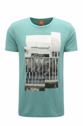 Regular-Fit T-Shirt aus Baumwolle mit Digital-Print, Türkis