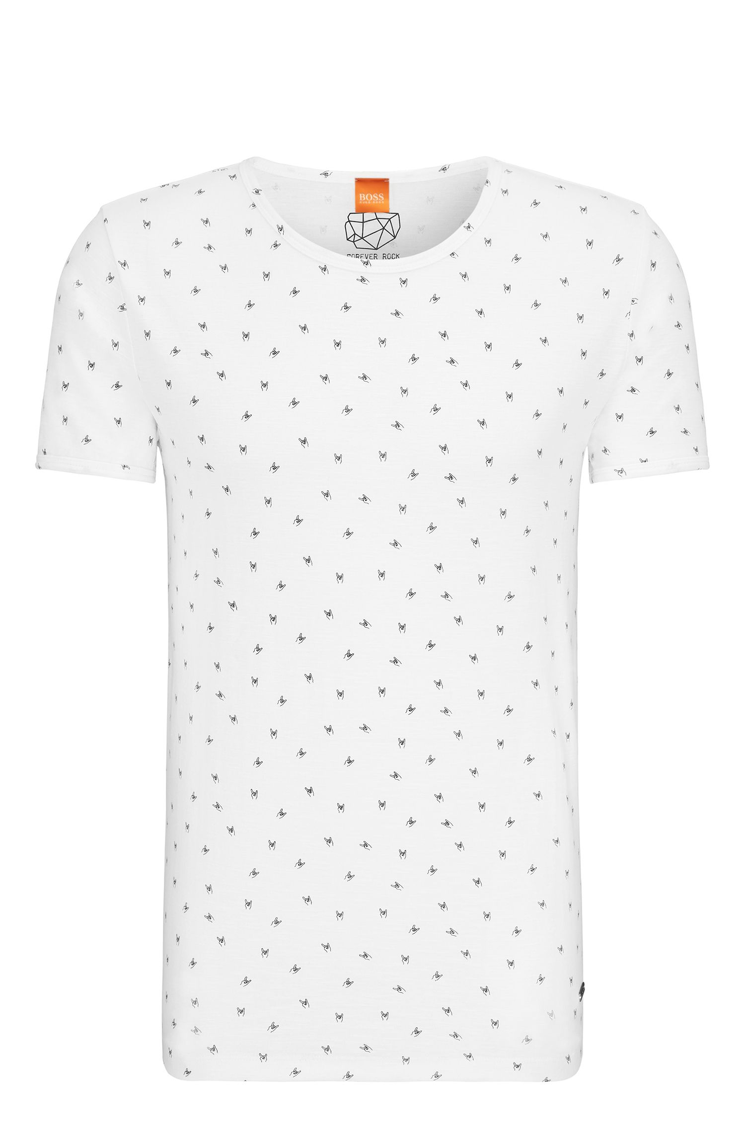 Regular-fit cotton T-shirt with pigment print