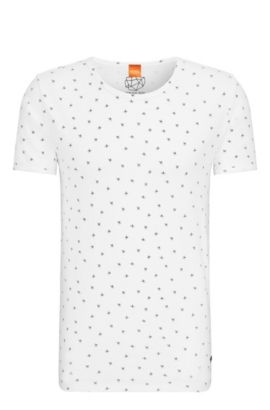 Regular-fit T-shirt van katoen met pigmentprint, Naturel