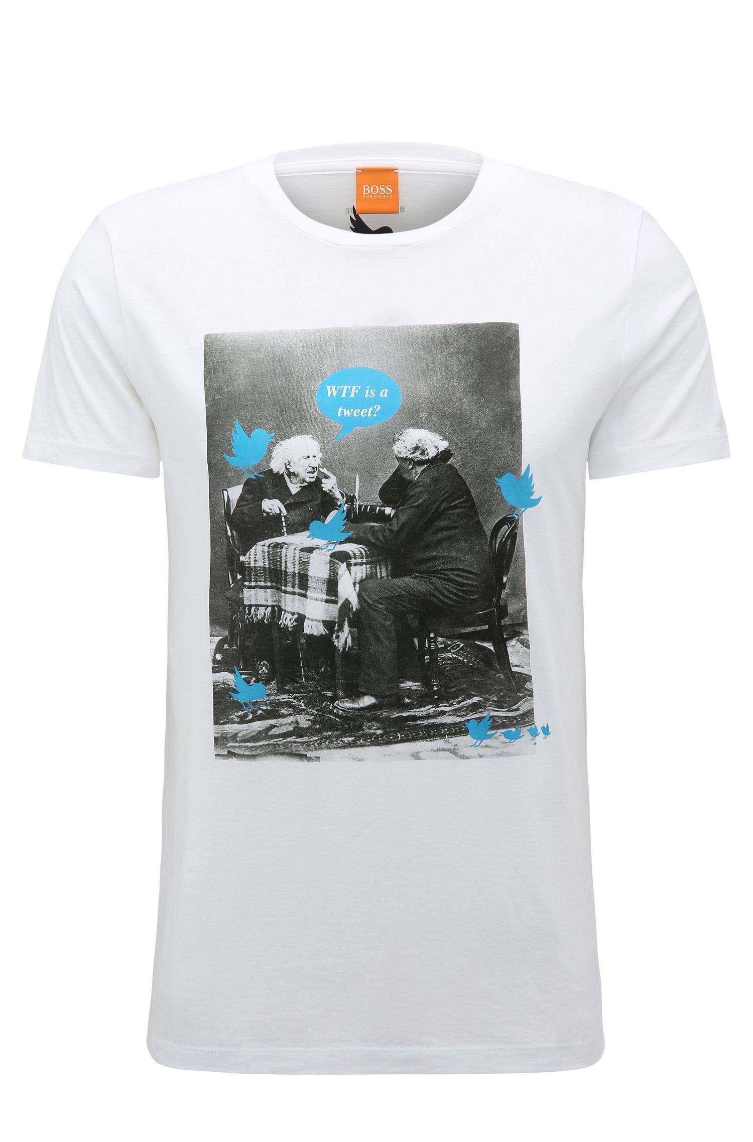 T-shirt Regular Fit en coton doté d'un imprimé précisément placé
