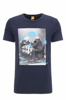 Regular-fit T-shirt van katoen met print, Donkerblauw